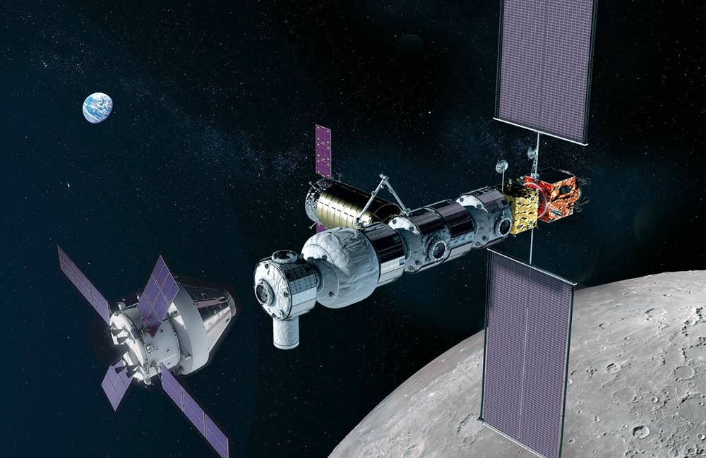 In this illustration, NASA's Orion spacecraft (left) approaches the Gateway in lunar orbit. — courtesy NASA