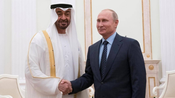 Abu Dhabi Crown Prince Sheikh Mohamed Bin Zayed Al Nahyan and Russian President Vladimir Putin are seen in this file picture. — Courtesy photo