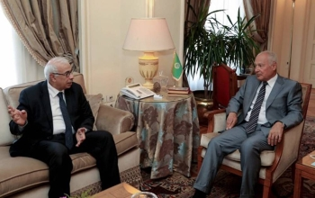 Arab League Secretary General Ahmad Aboul Gheit during his interview with MENA.