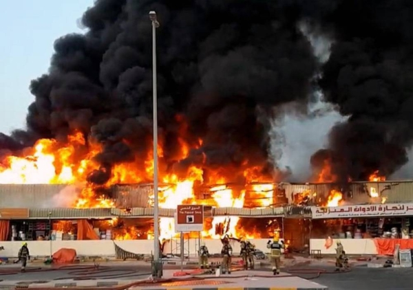 A massive fire in Ajman Souq