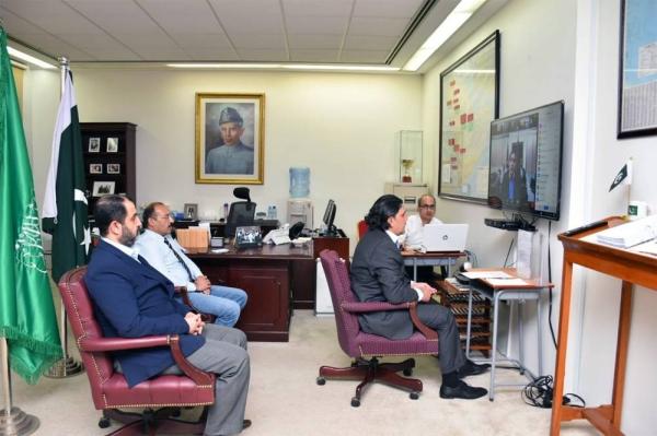 Pakistan Ambassador Raja Ali Ejaz  during the 'Kashmir Siege Day', webinar at the Embassy of Pakistan in Riyadh.