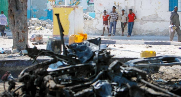 File photo of a wreckage of suicide car bomb in Mogadishu. The Security Council met Thursday to update members on the nexus between terrorism and organized crime. — courtesy UN Photo/Stuart Price