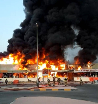 A large fire broke out on Wednesday evening at a market in the emirate of Ajman in the United Arab Emirates. — WAM photo