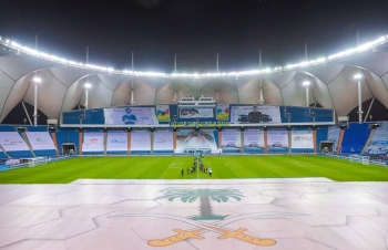 At the start of the Al Nasr v Al Hilal match of the SPL.