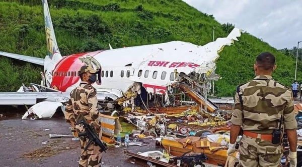 The Air India Express aircraft split into two after the mishap at Kozhikode airport on Friday. — Courtesy photo