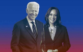 Joe Biden and his newly named running mate, Sen. Kamala Harris seen in this file photo. — courtesy Twitter