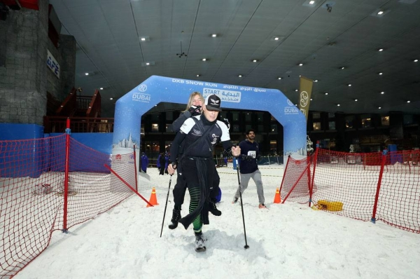 Buti Al Nuaimi of the UAE and Pia Hansske of Germany were fastest in their respective categories in the DXB Snow Run at Ski Dubai, Mall of the Emirates, on Friday morning.