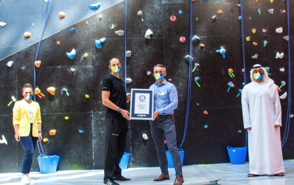 CLYMB Abu Dhabi, the new sports and leisure attraction on Yas Island, has been awarded two Guinness World Records titles for the world's largest indoor skydiving wind tunnel at 10 meters in diameter and 54.6 meters high, and the world's tallest indoor artificial climbing wall reaching 42.16 meters.— WAM photos