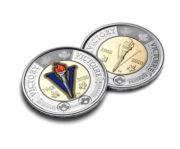 The Royal Canadian Mint's $2 circulation coin celebrating the 75th anniversary of the end of the Second World War