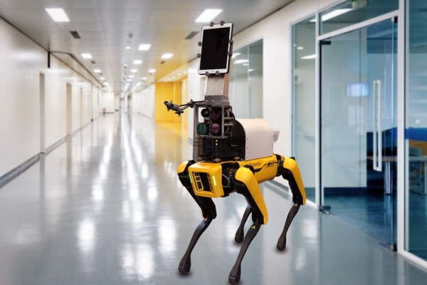Using four cameras mounted on a dog-like robot developed by Boston Dynamics, the researchers have shown that they can measure skin temperature, breathing rate, pulse rate, and blood oxygen saturation in healthy patients, from a distance of 2 meters. — Courtesy of the researchers