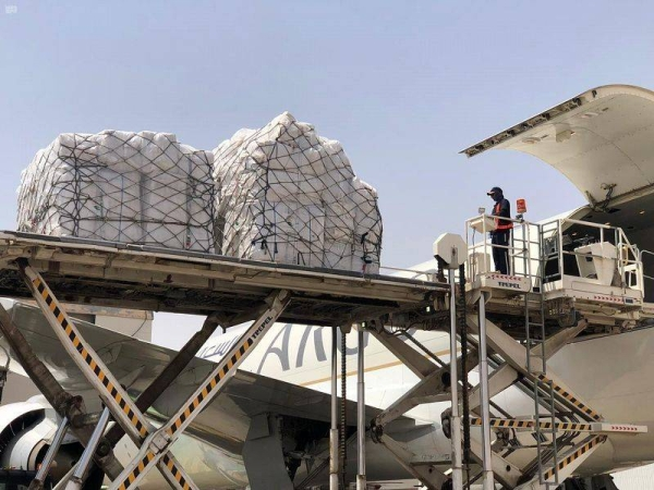 The plane carried 97 tons of food and shelter materials, which will be distributed in Khartoum, Al-Jazeera, and River Nile states of Sudan, benefiting 3,000 people. — SPA photos