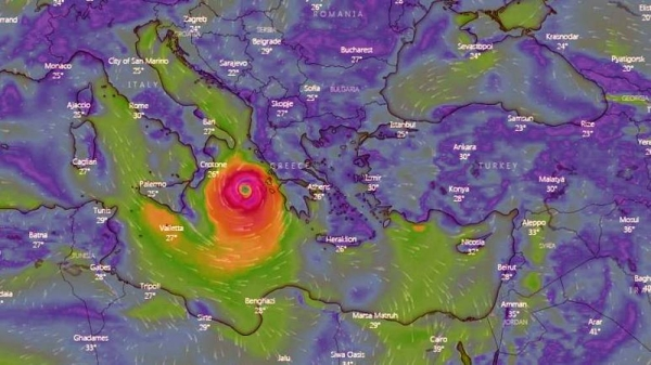 A satellite image shows Cyclone Ianos approaching Greece at 18h00 CET on Sept. 17, 2020. — courtesy: windy.com