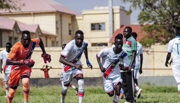 File photo shows South Sudan Under-23 A and B football teams battled it out in a fierce competition for supremacy while also sharing messages of peace and unity with fans during a match in the capital, Juba, in 2019. — courtesy UNMISS