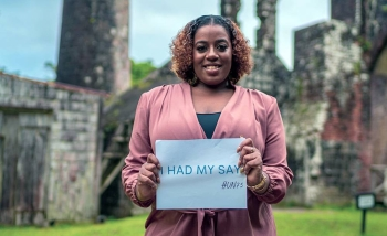 A woman from St. Kitts and Nevis in the Caribbean completed a UN survey about her hopes and fears for the future. — courtesy UN Caribbean
