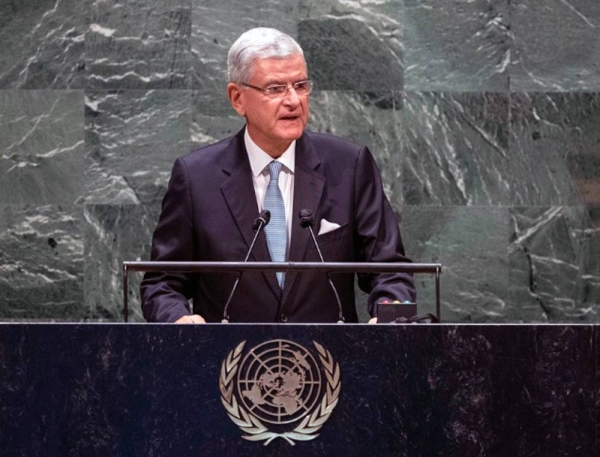 Volkan Bozkir, president of the 75th session of the United Nations General Assembly, opens the general debate of the General Assembly's seventy-fifth session. — courtesy UN Photo/Eskinder Debebe