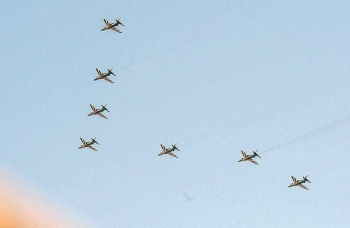 The air show, which is the largest ever for the National Day celebrations, witnessed the participation of scores of military and civilian aircraft.