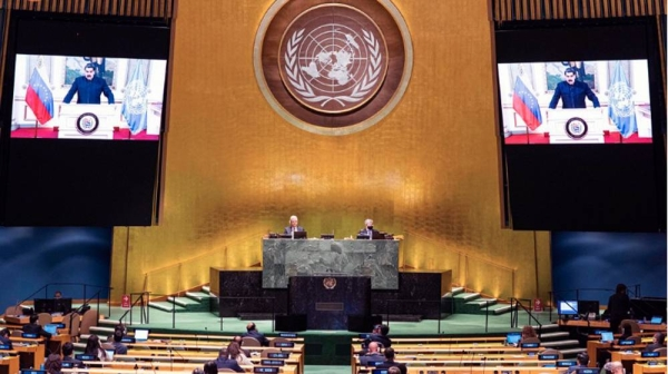 President Nicolás Maduro Moros (on screen) of Venezuela addresses the general debate of the General Assembly's seventy-fifth session. — courtesy UN Photo/Rick Bajornas