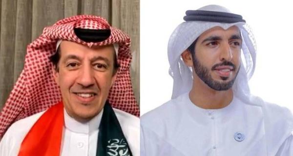 Ambassadors Sheikh Shakhboot Bin Nahyan Bin Mubarak Al Nahyan, and Turki Bin Abdullah Al Dakhil.