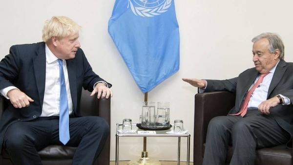 File photo shows UN Secretary-General António Guterres (r) with UK Prime Minister Boris Johnson. — courtesy UN Photo/Eskinder Debebe