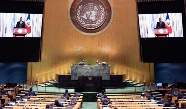 President Jovenel Moïse (on screen) of Haiti addresses the general debate of the General Assembly's seventy-fifth session. — courtesy UN Photo/Evan Schneider