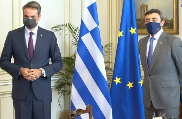 Greek Prime Minister of Greece Kyriakos Mitsotakis held talks with Foreign Minister of the United Arab Emirates Sheikh Abdullah bin Zayed Al Nahyan on Friday. — WAM photo