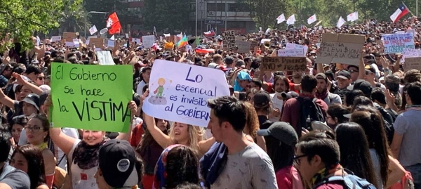 Protesters take to the streets in Santiago, Chile, in this October 2019 file picture. — Courtesy photo