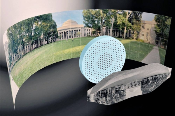 "3D artistic illustration of the wide-field-of-view metalens capturing a 180° panorama of MIT's Killian Court and producing a high-resolution monochromatic flat image."" Credits: Mikhail Shalaginov, Tian Gu, Christine Daniloff, Felice Frankel, Juejun Hu"
