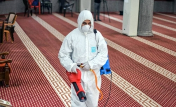 A mosque in Gaza is cleaned to prevent the spread of COVID-19. — courtesy UNDP PAPP/Abed Zagout