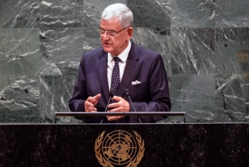 Volkan Bozkir, president of the 75th session of the United Nations General Assembly, delivers closing remarks to the general debate of the General Assembly's seventy-fifth session. — UN Photo/Loey Felipe