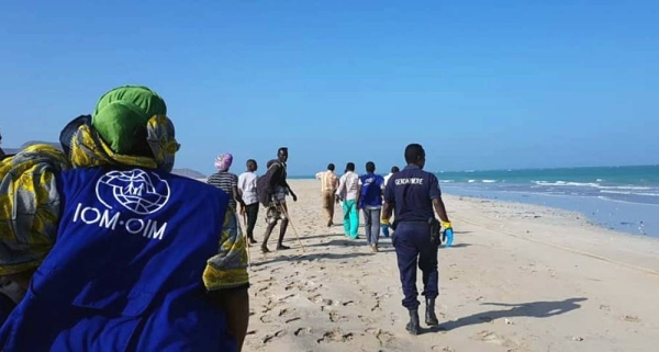 File photo shows staff from the IOM's Obock response center and local officials respond to assist migrants in distress off the coast of Djibouti. — courtesy IOM