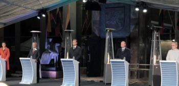 Lithuanian leaders during a debate prior to the polls.