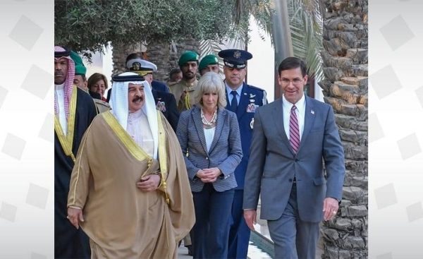 King Hamad welcomed the US defense secretary and his accompanying delegation and reviewed with them the long-standing bilateral relations, and ways to further develop them. — BNA photos