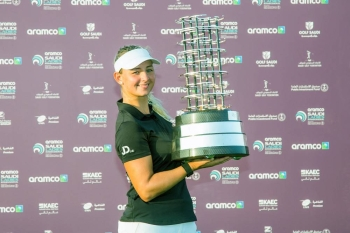 Emily Kristine Pedersen of Denmark with her trophy.