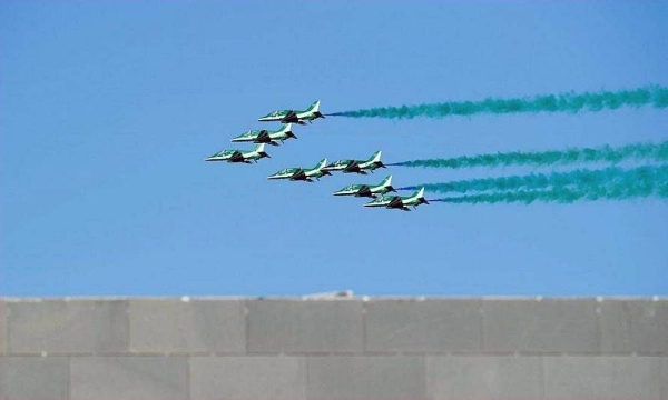 The Saudi Hawks and Saudi Airlines performed a joint air show in Riyadh on Saturday.