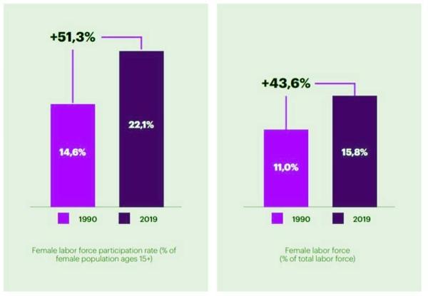 Growing female labor force participation