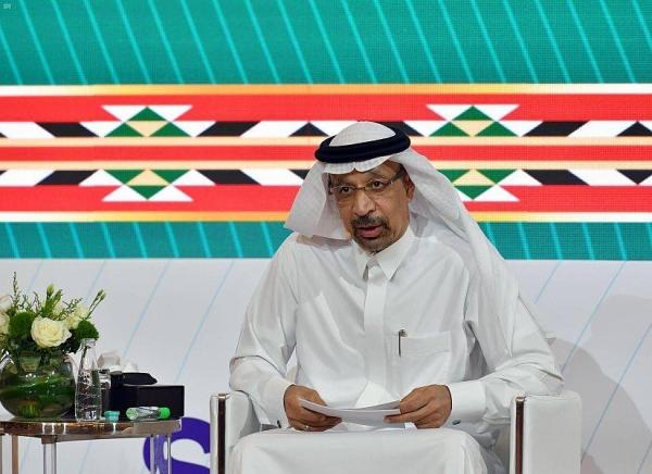 Saudi Arabia's Minister of Investment Khalid Al-Falih speaking at a G20 panel.