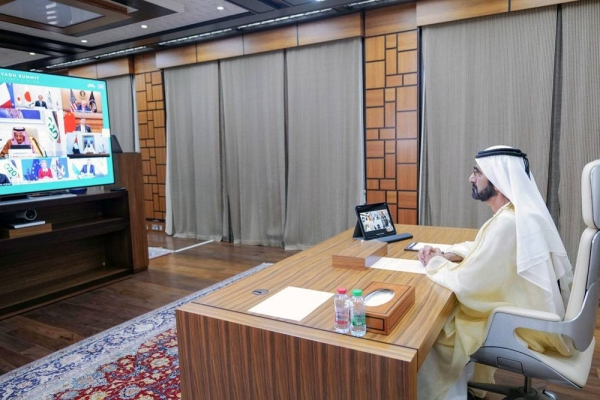 Sheikh Mohammed Bin Rashid Al Maktoum, vice president, prime minister and ruler of Dubai, participated in the virtual G20 summit, held on Saturday under the chairmanship of the Custodian of the Two Holy Mosques King Salman of Saudi Arabia under the theme: