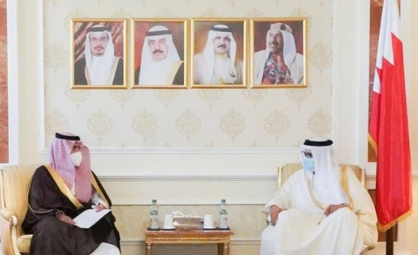 Bahrain's Foreign Minister Dr. Abdullatif Al-Zayani received here on Monday Saudi Arabia's Ambassador to Bahrain Prince Sultan Bin Ahmed. — BNA photo