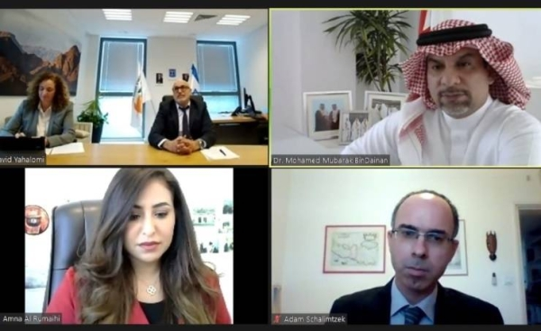 Bahrain's Supreme Council for Environment (SCE) chief Dr. Mohammed Mubarak Bin Dainah met virtually on Tuesday with the Director-General of the Israeli Ministry of Environmental Protection David Yahalomi. — BNA photo