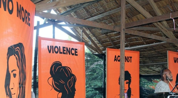 "A stage at a youth festival in the Solomon Islands sending a strong message: ""No More Violence Against Women And Girls"". — courtesy UN Women"