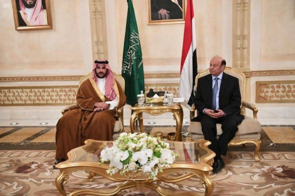 Saudi Arabia's Deputy Defense Minister Prince Khalid Bin Salman received Yemen's President Abed Rabbo Mansour Hadi on Wednesday.