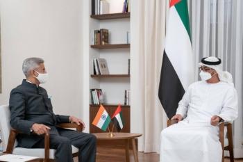 Indian Foreign Minister Dr. Subrahmanyam Jaishankar was received by Abu Dhabi Crown Prince Sheikh Mohamed bin Zayed Al Nahyan at Al Shati Palace in Abu Dhabi on Wednesday. — WAM photo