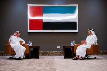Saudi Arabia's Deputy Foreign Minister Waleed Al-Khuraiji was received by Foreign Minister of the United Arab Emirates Sheikh Abdullah bin Zayed Al Nahyan here on Sunday. — WAM photos