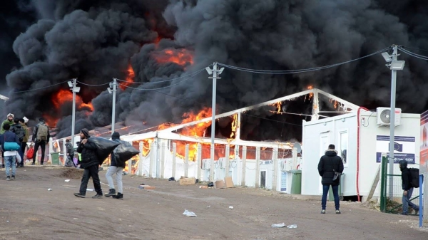 The fire rages at the Lipa emergency camp in Bosnia and Herzegovina that housed about 1,400 migrants. — Courtesy photo