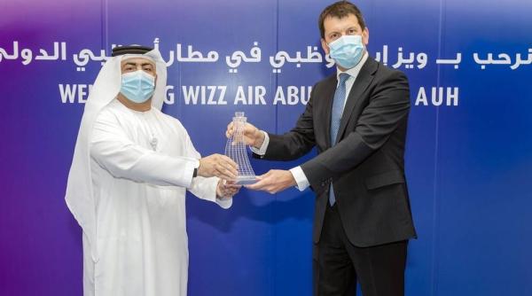 (Left) Shareef Al Hashmi, ADAC CEO and (right) Wizz Air Abu Dhabi's managing director, Kees Van Schaick mark the launch of Wizz Air Abu Dhabi.