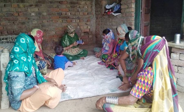Women artisans from Barara village in Gujarat's Patan district doing traditional embroidery. — courtesy Self Employed Women's Association (SEWA)