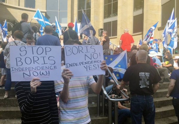 Hundreds gathered for two protests in Glasgow on Saturday, one for Scottish independence from the United Kingdom, and the other pro-Unionists waving Union Jack flags.