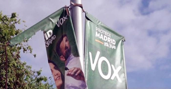 Banners of the Vox party seen in Madrid. The far-right Vox party could play a decisive role in the Spanish capital.