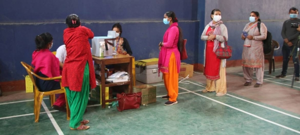 Health workers in Gorkha District in north-central Nepal receive their second dose of the COVID-19 vaccine.— Courtesy file photo