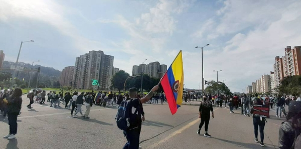Protesters in the streets of Bogota, Colombia. — courtesy Jeimmy Celemín